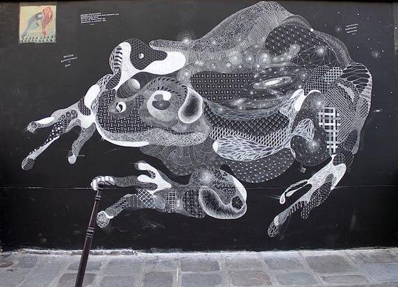 Меловое граффити Филиппа  Боделока (Philippe Baudelocque)